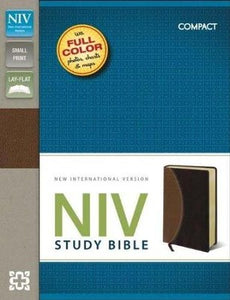 NIV Study Bible, Compact, Imitation Leather, Tan Burgundy