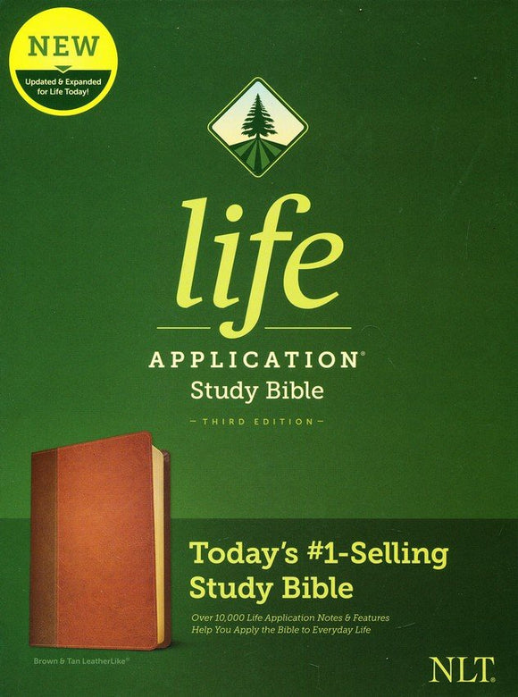 NLT Life Application Study Bible, Third Edition--soft leather-look, dark brown/tan