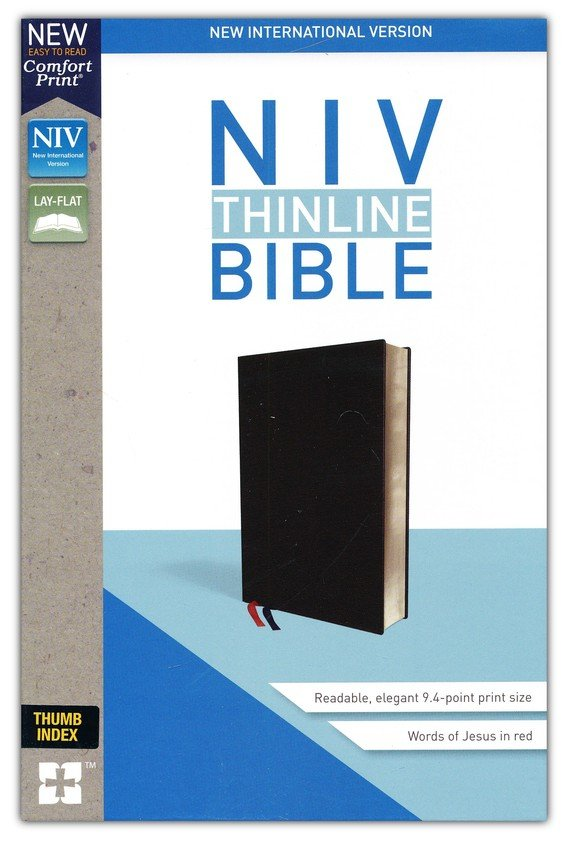 NIV Thinline Bible Black, Bonded Leather, Indexed