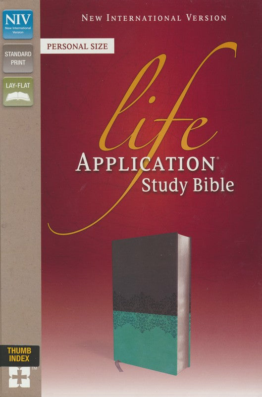 NIV, Life Application Study Bible, Personal Size, Imitation Leather, Gray/Blue, Indexed, Red Letter Edition