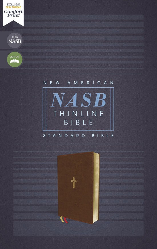 NASB Comfort Print Thinline Bible, Red Letter Edition--soft leather-look, brown