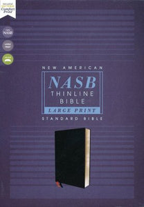 NASB Large-Print Thinline Bible, Red Letter Edition--Bonded Leather, Black