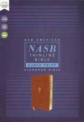 NASB Large-Print Thinline Bible, Red Letter Edition--Soft Leather-Look, Brown