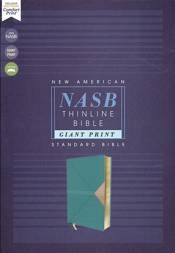 NASB Giant-Print Thinline Bible, Comfort Print, Red Letter Edition--soft leather-look, teal