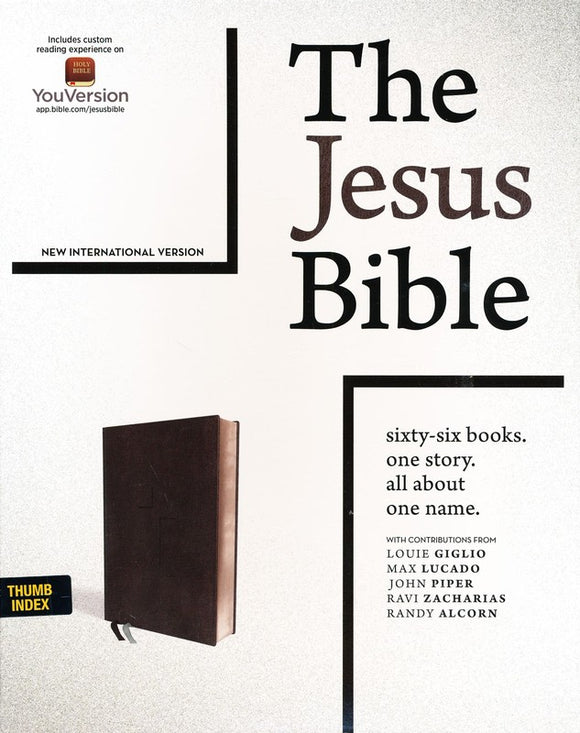 NIV Comfort Print Jesus Bible--soft leather-look, black (indexed)
