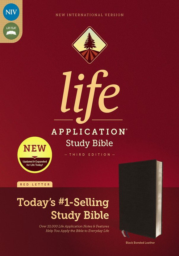 NIV Life Application Study Bible, Third Edition--bonded leather, black