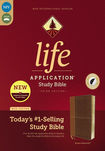 NIV Life Application Study Bible, Third Edition--soft leather-look, brown (indexed)