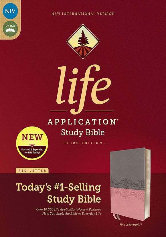 NIV Life Application Study Bible, Third Edition--soft leather-look, gray/pink