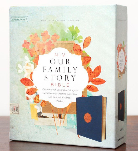 NIV Our Family Story Bible, Leathersoft over board, Navy