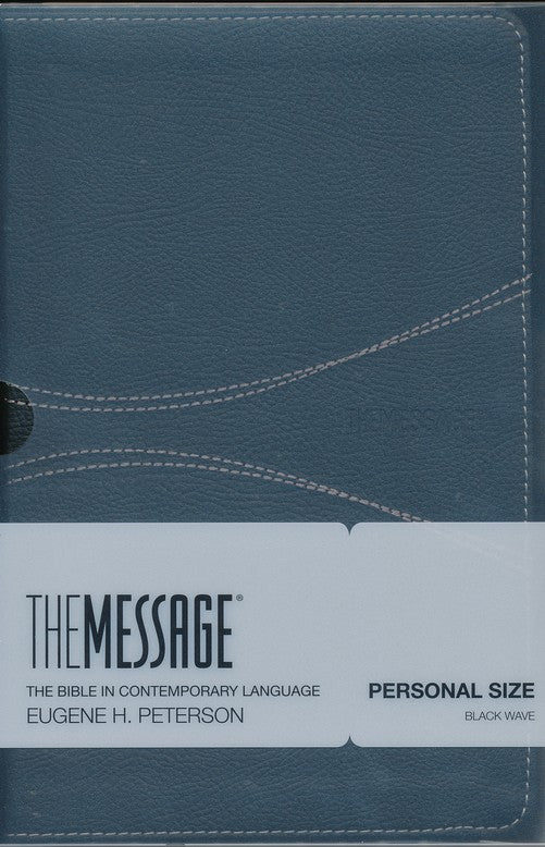 The Message Personal-Size Bible--soft leather-look, black wave