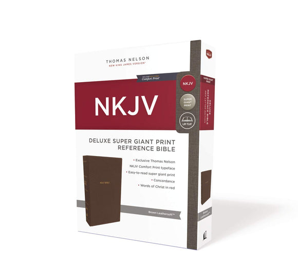 NKJV, Deluxe Reference Bible, Super Giant Print, Leathersoft, Brown, Red Letter, Comfort Print: Holy Bible, New King James Version
