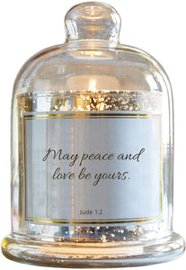 Heartfelt Collection-Lustre Mercury Glass Cloche Dome Candle Holder, 5.5 x 7-Inches, Peace and Love- Jude 1:2