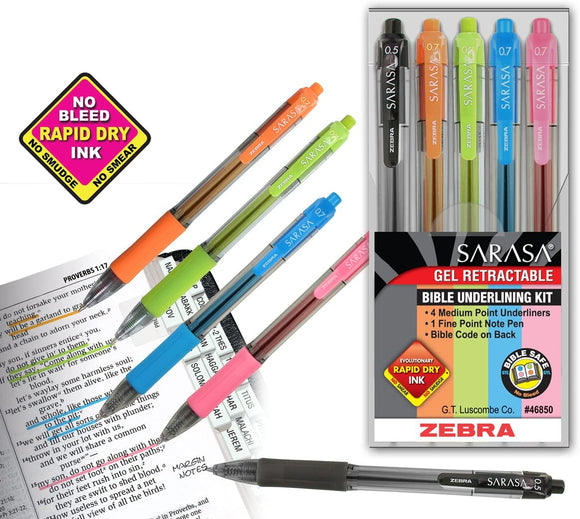 Zebra Sarasa Fine Point Bible Underlining Kit (Set of 5)