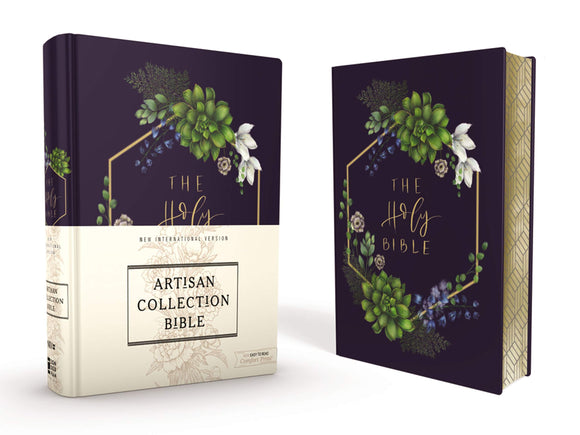 NIV Artisan Collection Bible--cloth over board, navy floral