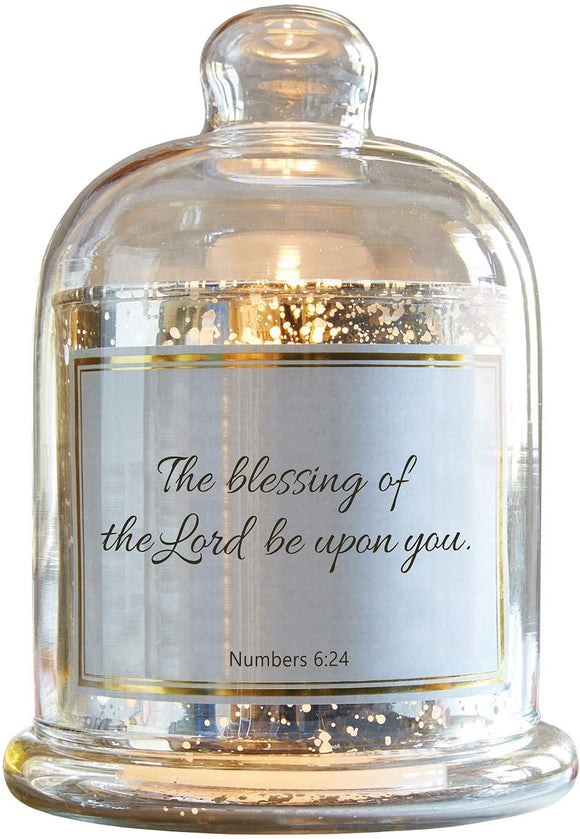 Heartfelt Collection-Lustre Mercury Glass Cloche Dome Candle Holder, 5.5 x 7-Inches, Blessing- Numbers 6:24