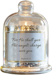Heartfelt Collection-Lustre Mercury Glass Cloche Dome Candle Holder, 5.5 x 7-Inches, His Angles-Psalm 91:11