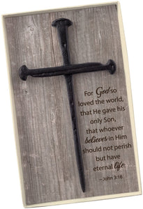 CB Gift Wall Cross-Cross Of Nails (Gift Boxed w/John 3:16 Verse)