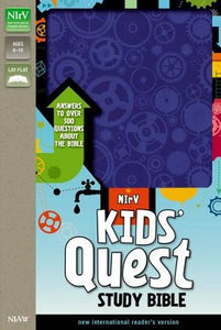 NIrV Kids' Quest Study Bible--soft leather-look, blue