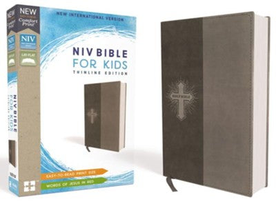 NIV Comfort Print Bible for Kids, Imitation Leather, Gray