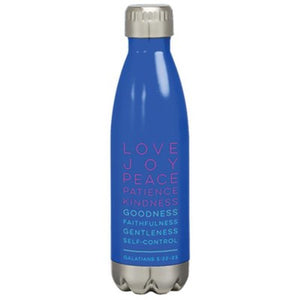 Fruit of the Spirit Stainless Steel Water Bottle, Blue By: KERUSSO