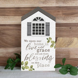 We Open Our Home in Love an Grace Wood Art