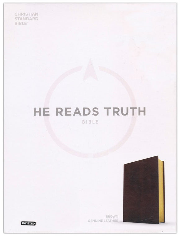 CSB He Reads Truth Bible, Brown Genuine Leather with Thumb Index