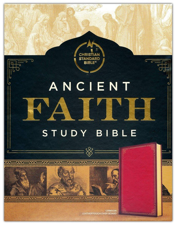 CSB Ancient Faith Study Bible-soft leather-look over board, crimson (indexed)