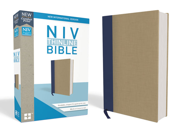 NIV, Thinline Bible, Cloth over Board, Blue/Tan, Red Letter Edition, Comfort Print