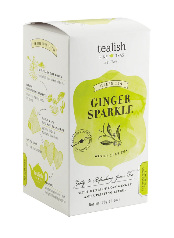 Tealish Gourmet Classics - Ginger Sparkle Green Tea, 15 Teabags