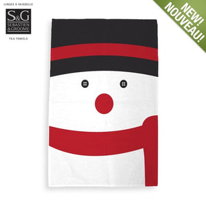 Snowman Print Tea Towel