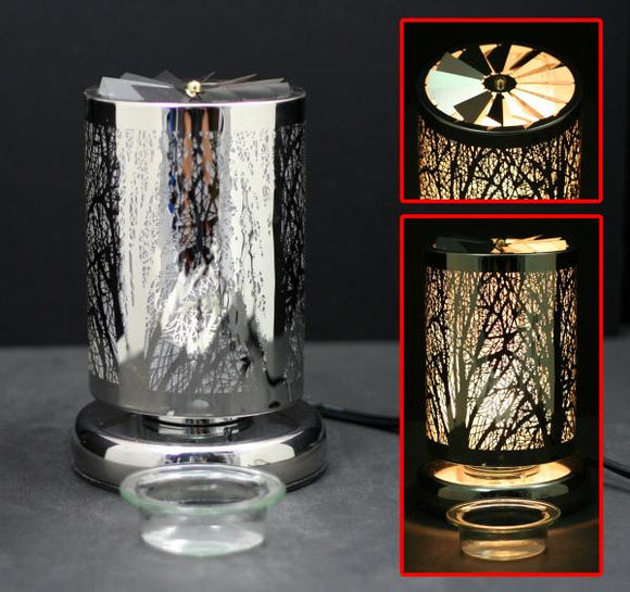 Carousel Touch Sensor Lamp, Silver Forest w/ Scented Wax Container