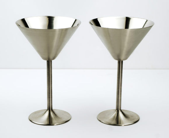 Stainless Steel Martini Glasses, Set of 2