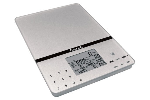 Cesto Glass Nutritional Scale, 11lb/5kg, Silver Gray, lb, kg, fl oz