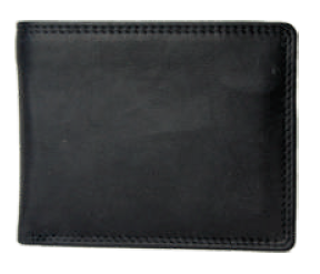 Rugged Earth Black Leather Billfold Wallet, Style 880011
