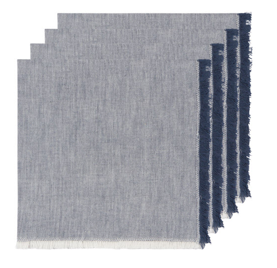 Chambray Heirloom Napkins, Midnight Set/4