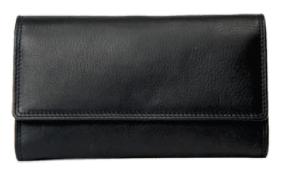 Rugged Earth Black Leather Ladies Wallet, Style 88001