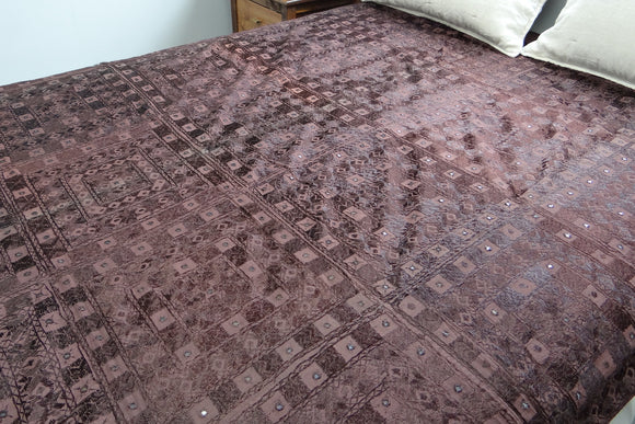 Hand Embroidered Bed Cover - Brown, Queen