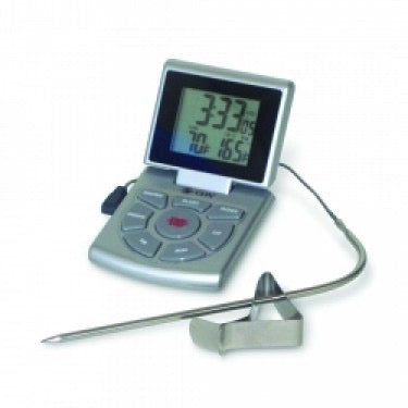 Combo Probe Thermometer, Timer & Clock, 14 to 392F, Silver