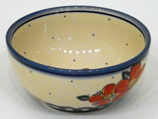 Bowl, 16x7.5cm, Red Flowers & Dots