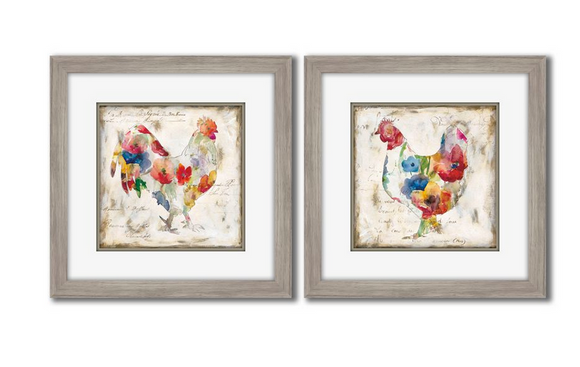 Flowered Rooster Wall Art, Set/2 12x12