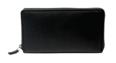 Rugged Earth Black Leather Zippered Wallet, Style 88020