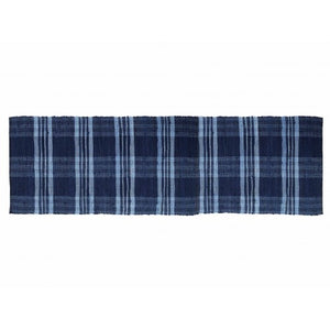 Floor Mat, Ribbed Cotton Chindi Check Blue 27x72""