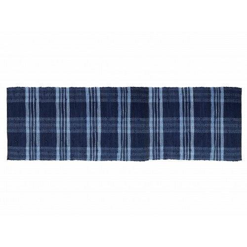 Floor Mat, Ribbed Cotton Chindi Check Blue 27x72