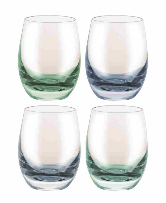 Bohemia Confetti Shot Glass, 4 Assorted Blue/Green