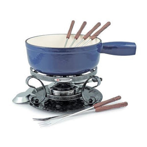 Lugano 9pc Cast Iron Cheese Fondue Set, Deep Blue 2L