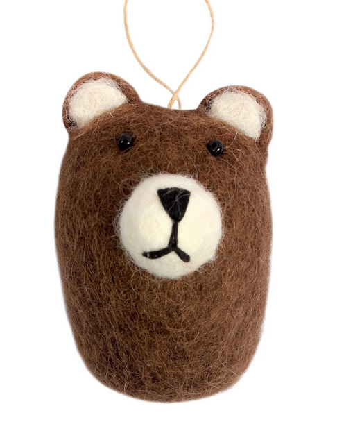 Brown Bear-Head Shaped Felt Ornament,