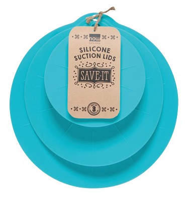 Set of 3 Silicone Suction Lids, Bali Blue