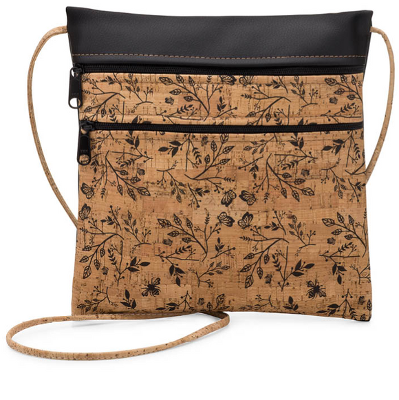 Be Lively Rustic Cork Double Zip Cross- Body Bag w/ Floral Print