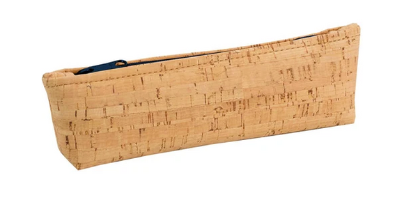 Be Organized Rustic Cork Pencil Case Navy Zipper