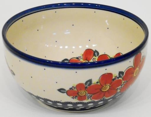 Bowl, 23x11cm, Red Flowers & Dots